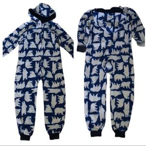Polar Bear Warm One Piece Blue & White Fleece PJ